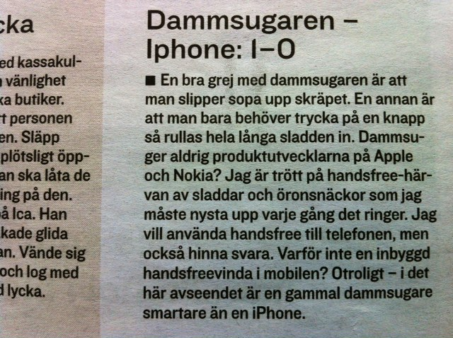 Dammsugaren – Iphone: 1-0